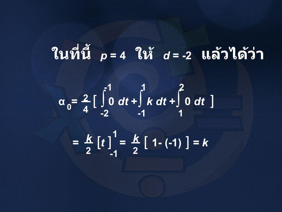 ∫ ในที่นี้ p = 4 ให้ d = -2 แล้วได้ว่า α = [ 0 dt + k dt + 0 dt ] k